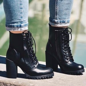 Shoes - SONYA Lace-Up BootIE - BLACK